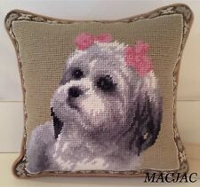 "Shih Tzu Dog Needlepoint Pillow 9""X9"" NWT"