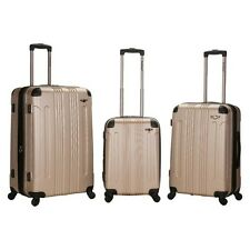 Rockland Sonic 3 Piece ABS Expandable Spinner Luggage Set - Champagne