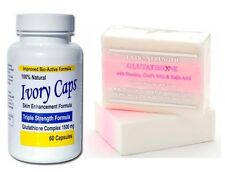 Premium Extra Strength Whitening Pink Soap + Ivory Caps Glutathione Pills