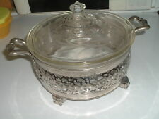 PYREX VINTAGE ART DECO SERVING DISH ETCHED LID N SILVER TONED CARRIER