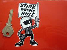 "STINK WHEELS RULE 2 Stroke Bike Rider STICKER 4"" Kawasaki MZ Suzuki Yamaha Moped"