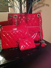 "3 PC Set: Coach ""Poppy"" Quilted Red Patent Leather Tote Wristlet & Case"