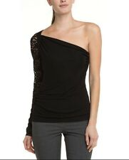 LK Bennett Hilton Top One Shoulder Black Lace Sleeve Evening New Party NWT Large