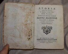 Storia della vita e .. Santo Agostino Libro IV parte II Brescia 1776 BB