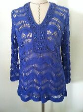New Chico's 2 M women top crochet knit blue periwinkle stone embellish size