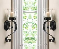 SET OF 2 SCROLLING CANDLE WALL MOUNT SCONCE