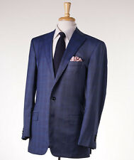 New Custom $3895 OXXFORD HIGHEST QUALITY Blue Check Wool-Silk Sport Coat 41 R