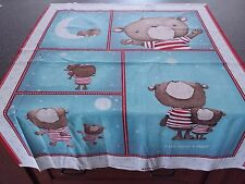 Shine Bright Panel 35x42 Stacey Yakula Crib Top Teddy Bears Teal Blue Red