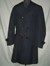 VINTAGE MENS NAVY BLUE CYCLONE BELTED TRENCH COAT - MADE IN FRANCE - SIZE XL-XXL