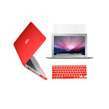 """3 in 1 Rubberized RED Case for Macbook PRO 15"""" + Keyboard Cover + LCD Screen"""