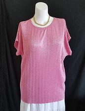 Womens Top Tunic 1X Blouse Pink Crinkle Stretch Career Travel