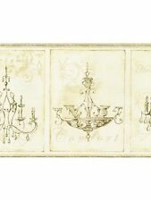 Chandelier on Beige Scroll Background Wallpaper Border  KD8101B