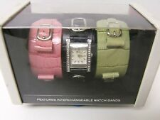 RARE RELIC BY FOSSIL WOMEN ZR55111 QUARTZ 3 LEATHER BAND WATCH GIFT SET - NEW