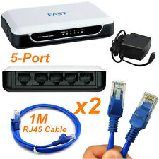 5 Port RJ45 Ethernet LAN Network Switch Hub 10/100Mbps & 2x 1M Cat5e Patch Cable