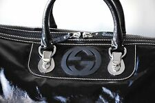 GUCCI BLACK GYM TRAVEL DUFFLE DOCTOR BAG SHINY CANVAS PATENT LEATHER GG LOGO NEW