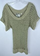 ** GUESS LOS ANGELES **  Beige Knitted Tube Sweater Boho Open Short Sleeves Sz M