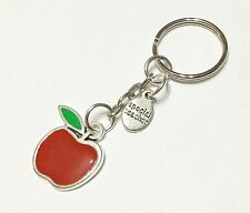THANK YOU TEACHER Key Ring Chain Gift Red Apple Enamel Silver Charm Present