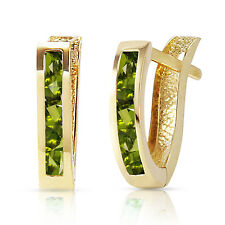 1 CTW 14K Solid Gold Oval Huggie Earrings Peridot