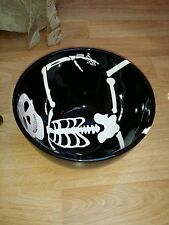 222 Fifth Halloween B&W Skeleton Serving Deep Bowl Candy Dish Party Table Server