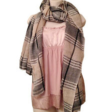 Scarf Shawl 100% Exclusive Cashmere Fall Winter Chic Boho Plaid Pashmina