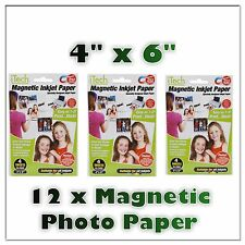 12 x SHEETS GLOSSY MAGNETIC PHOTO PRINTER PAPER All Inkjets Fridge Card Invite