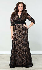 NWT KIYONNA (2X) Womens Black Nude Screen Siren Lace Formal Maxi Gown Dress Plus