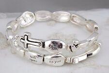 Silver Bible Verse Bracelet Matthew 7:7 Memory Wire Wrap Fashion Jewelry NEW