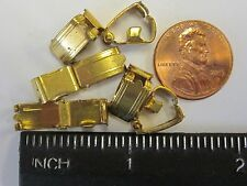 6 OLD VTG BRASS FOLD OVER CLASP LOT 12x 6.5mm JEWELRY REPAIR FINDINGS BRACELET