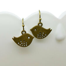 Bird Earrings, Antique Bronze Finish Vintage Style Charm Pendant Earring