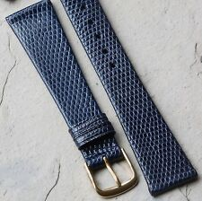 Blue Genuine Royal Lizard 19mm vintage watch band European made NOS 1960s/70s