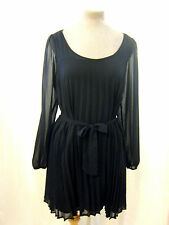 Principles Ben De Lisi Black Chiffon Sheer Pleated Relaxed Fit Shift Dress 10