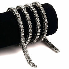 Iced Out Silver Simulate Diamond Necklace Hip Hop Luxury 1 One Row Tennis Chain