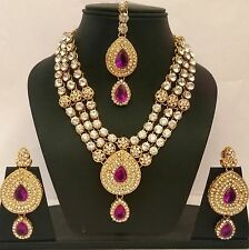Indian Gold Plated Purple CZ Stone Fashion  Bridal Necklace Wedding Jewelry Set