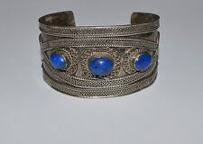 VINTAGE ORIENTAL STERLING SILVER AND LAPIS LARGE HEAVY CUFF BRACELET