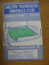 18/03/1959 Bolton Wanderers v Aston Villa  (staples removed, marked on back cove