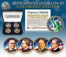 2013 USA MINT COLORIZED PRESIDENTIAL $1 DOLLAR 4 Coins Set with box