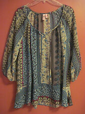 DOLLED UP by F.A.N.G Floral Boho Print 3/4 Sleeve Sheer Top, Size 1XL