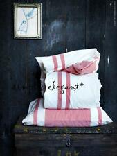 New Ikea KING Quilt Cover Duvet Cover & Pillowcases White Red Stripe Bjornloka