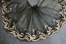 """2 Yards Lace Trim Black Tulle Gold Retro Floral Embroidered Tulle  8.26"""" width"""