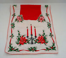 vintage shabby chic Christmas table runner scarf candles poinsettia design
