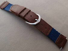 New 16mm Nylon Timex Blue with Brown Expedition Water Resistant Watch Band