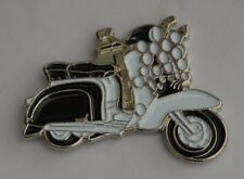 Black and White Scooter with Lights Mod Enamel Pin Badge