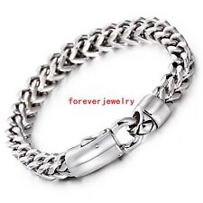 Trendy Jewelry Stainless Steel Silver Square Figaro Chain Men's Bracelet Bangle
