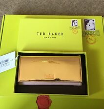 NEW WITH BOX TED BAKER KINDRO ROSE GOLD FLAPOVER PINK Leather PURSE Rrp £89