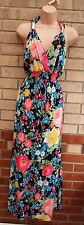 O-SHA BLACK MULTI COLOR FLORAL PINK BLUE YELLOW LYCRA LONG MAXI FLIPPY DRESS M L