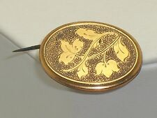 Victorian Gold Filled Etched Watch Photo Locket Pin