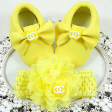 Baby Girl Shoes,  Crib Shoes, Headband Set, Custom Baby Shoes, Fancy Baby Shoes