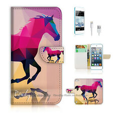 iPod iTouch Touch 5 Print Flip Wallet Case Cover! Abstract Horse P0216