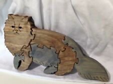 Wood Siamese Cat Scroll Saw Puzzle - Handmade - 8 Pieces - Stained