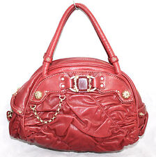 JUICY COUTURE Red Goat Leather Pleated Studded Dome Satchel Handbag